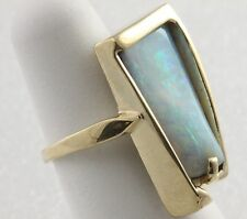 Opal Ring 14K Handmade Large Boulder Green Blue Touch Of Red Yellow Gold Amazing