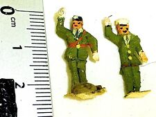 2 Soldiers Green Uniform Preiser (?) Wooden Figures 50er Years H0 1:87 Å