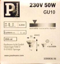 6X pack Paulmann GU10 230V 50W Silver Reflector Lamps 836.56