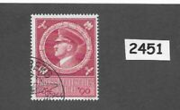 Used postage stamp / Adolph Hitler / 1944 Birthday / WWII Germany / Third Reich