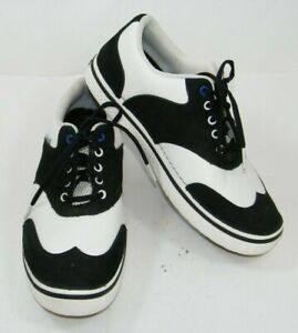 CROCS GOLF WITH HANK HANEY BLACK SUEDE WHITE LEATHER MENS 9 SHOES 18976