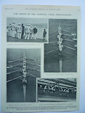 ".THE BOAT RACE "" THE CREWS ON THE TIDEWAY: FINAL PREPARATIONS."" 1928 RARE."