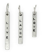 Live Laugh Love Word Charms Antiqued Silver Pendants Jewelry Lot of 3 pcs