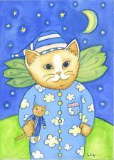 CAT PAJAMAS FAIRY OWEN KITTEN DOLL STARS MOON NIGHT FOLK ART ORIGINAL PAINTING