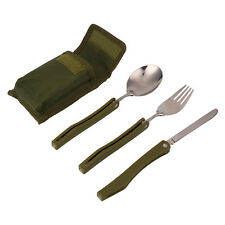 Stainless Steel Folding Knife and Fork Spoon 4 PC Kit Army Green Outdoor Camping
