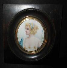 ancienne miniature peinture huile femme élégante en robe bleue XIX ème