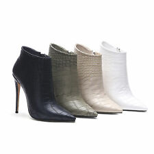 Women's High Heels Ankle Boots Microfiber Leather Pointed Toe Booties US Sz 4~12
