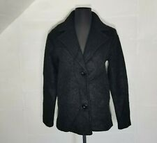 Elodie Womens Boucle Jacket XS Black Wool Blend Single Breasted Pockets Notch Co