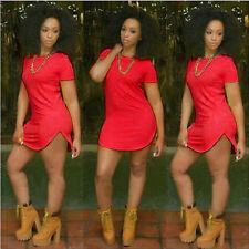US Women Top Side Slit Casual Blouse T Shirt Summer Lady Party Mini Dress M
