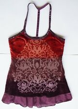 FREE PEOPLE Purple Sequin Velvet BURN OUT T-Strap Back Tunic Top 6