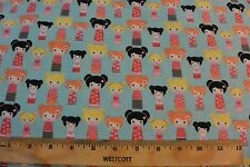 Small Japanese Kokeshi Dolls Allover Light Blue Cotton Flannel Fabric BTY