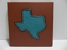 Vintage TEXAS Quarry Tile Turquoise Enamel  6""