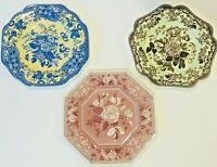 "SPODE Collection 9 1/2"" Plates Botanical, Blue Rose, Rosa- SET OF 3"