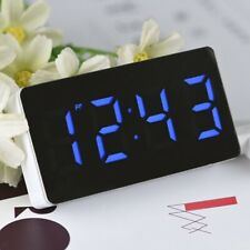 Portable Mirror Led Alarm Clock Night Lights Thermometer Digital Wall Clock Lamp