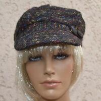 Casquette bonnet gavroche chapeau Femme noir chiné ZAZA2CATS new