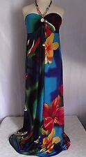 NWT LUK Paris Floral Dress Hibiscus Island Beaded Vibrant SML