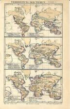 Carta geografica antica ANIMALI NEL MONDO Tav. 5 UCCELLI 1 1890 Old antique map
