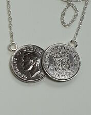 2 Coin ,double coin necklace King George lucky sixpence