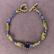 NIGHT OWL TOTEM BRACELET Bird Symbol Magick Crystals Star Heart Bronze Blue