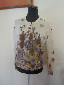 Made in Italy for Myer's 100% MERINO WOOL Foral Design Cardigan 10 -12 AS NEW