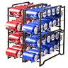 2 Pack SimpleHouseware Stackable Front Loading Beverage Can Dispenser Rack-Brown