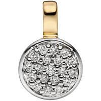 Anhänger Halsschmuck mit 19 Diamanten Brillanten 585 Gold Gelbgold, rhodiniert