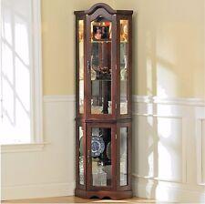 Corner Curio Cabinet Small China Glass Door with Light Mirrored Dining Mahogany