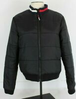 Vtg Tommy Hilfiger Womens XL Puffer Coat Jacket Black Flag Collar Box Logo GUC
