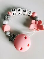 💖Personalised Dummy Clip, Pacifier, Chain, Baby Girl & Baby Boy, Silicone
