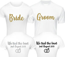 c2a925b258 PERSONALISED BRIDE GROOM JUST MARRIED T-SHIRT SET FUN HONEYMOON WEDDING  TSHIRTS