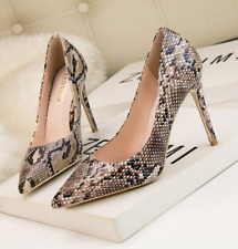 Women Snake Skin print Pumps Shoes Shallow Pointed Toe Stiletto
