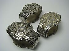 """SET of 3 SILVERPLATE SILVER PLATED NAPKIN RINGS NAPKIN HOLDERS """"Flowers"""" ca1900s"""