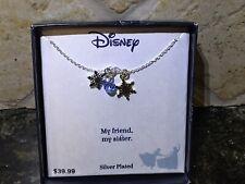 "NIB Sterling Silver 925 Disney Frozen Sisters Snowflake Necklace Elsa Anna 18"""