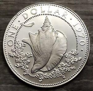 1970 One Dollar Bahama Islands Silver Coin (G447)