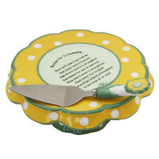 Friendship Flower Cake Plate/Snack Platter With Serving Knife by Temp-Tations (Y
