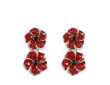 Remembrance Two Poppies Ear Cuff Earrings Combat Stress In White Jewellery Box