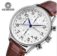 OCHSTIN NEW Casual Men's Quartz Analog Leather Chronograph Calendar Wrist Watch