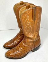 LUCCHESE Full Quill Ostrich Leather Cognac Western Boots Mens 7.5 D USA Made