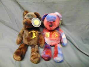 Pair of Sacagawea Lewis & Clark 2000 & 2001 Beanie Babies Mint Bears Tye die