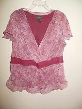 Lane Bryant Women's Size 18/20 Maroon Pull over Blouse Cap Sleeves  Sheer Lined
