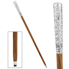 Chrome Metal Intricate Design Collectible Polished Hardwood Walking Stick Cane