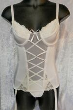 Satin Lace-up Corset Bustier Underwired with suspenders & thong White size 8-14