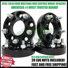 2015-2018 Ford Mustang 15mm Thick Black Hub Centric Wheel Spacers 14x1.5 Studs
