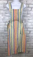 Vintage Retro Apron Overall Dress Tie Side 70's Blue Striped Jute Sz Junior 15