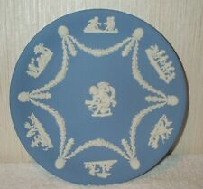 "Wedgwood Blue Jasperware Cupid & Cherubs 9"" Cake Serving Plate England Mint"