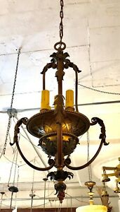 Italianesque Edwardian Renaissance Revival Four Light Tole Chandelier Rewired