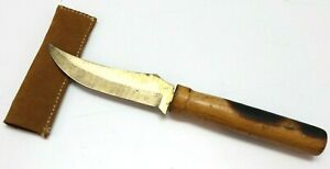 """Handmade Vintage knife with leather sheath 10 7/8""""L in case E476"""