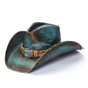 New Unisex Green Stained Hand crafted Genuine Bangora Cowboy Western Hat - Road