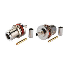 2-Pack N Type Female Bulkhead Mount Solder Connector for LMR-200 Coaxial Cable