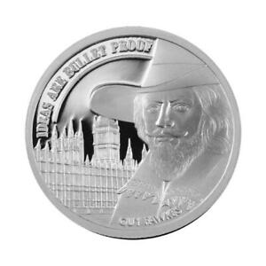 1 OZ SILVER COIN  PROOF GUY FAWKES V FOR VENDETTA IDEAS ARE BULLET PROOF AOCS